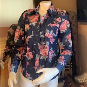 Guess denim lightweight floral button  shirt sz s